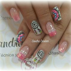 Kaway Gorgeous Nails, Love Nails, Fun Nails, Pretty Nails, Mandala Nails, Luxury Nails, Nail Studio, Cute Nail Art, Creative Nails
