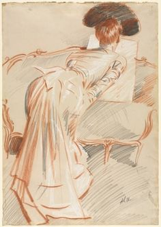 Woman (Possibly Madame Alice Hellu) Looking at a Drawing, c. 1895 -   Paul César Helleu (French, 1859-1927)  black, red, and white chalk