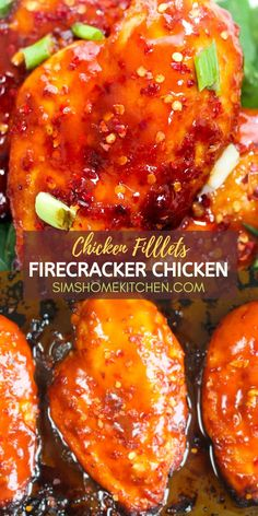 Sweet, spicy and delicious! These succulent firecracker chicken fillets will add a burst of flavor to your plate. Baste this chicken in a mouth-watering homemade firecracker sauce and bake in just 30 minutes and serve with veggies, rice or noodles. Healthy Baked Chicken, Baked Chicken Recipes, Mexican Chicken Recipes, Chicken Appetizers, Seafood Recipes, Beef Recipes, Firecracker Chicken, Firecracker Sauce, Dinner Dishes