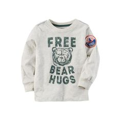 "Baby Boy Carter's ""Free Bear Hugs"" Graphic Tee, Light Grey"