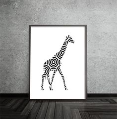 Stylish abstract giraffe art print, black and white   Printed on premium quality matte EPSON paper using premium archival ink  Dimensions