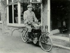 Arthur Conan Doyle on a motorcycle. On July 7, 1930, he died after suffering a heart attack.