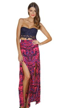 Bright pink patterned maxi skirt. The lace bustier is cute too, but not sure if I could pull it off...