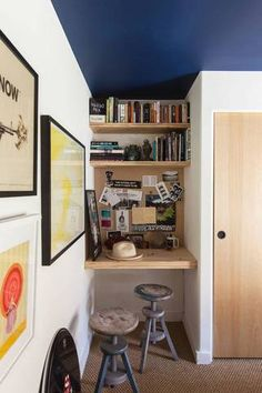 Small Home Office Desk-change a wall color-stack in a type of storage in any room
