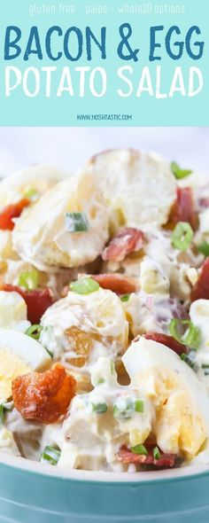 The BEST Potato Salad with Bacon and Egg recipe ever!! It's loaded with yummy bacon, egg and pickle!! Can be made Paleo and Whole30, gluten free too!
