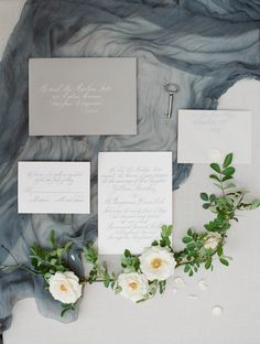 Moody gray + blue invitation suite:  http://www.stylemepretty.com/maryland-weddings/annapolis/2016/06/30/an-inspiration-shoot-where-old-world-charm-meets-modern-style/ | Photography: Stacy Bauer Photography - http://www.stacybauerphotography.com/