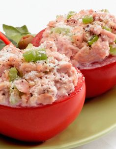 Two tomato halves stuffed with tuna salad. Very healthy and delicious too. Pro food stylist used on this dish Keto Recipes, Vegetarian Recipes, Cooking Recipes, Recipe D, Antipasto, High Fat Foods, Tuna Salad, Keto Meal Plan, Aesthetic Food