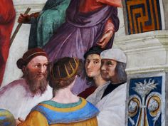 Raphael painted a portrait of himself, staring from the middle, in The School of Athens.