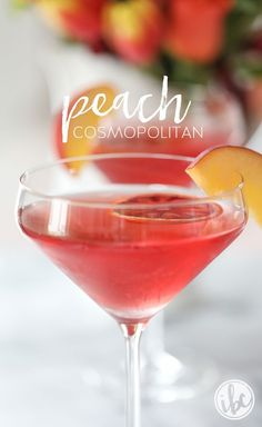 Peach Cosmopolitan martini cocktail recipe INGREDIENTS 3 ounces of peach vodka 1 ounce peach schnapps 1 ounce cranberry juice wedge of blood orange - juiced slice of peach and slice of blood orange to garnish Peach Martini, Peach Drinks, Vodka Martini, Vodka Cocktails, Refreshing Cocktails, Summer Drinks, Cocktail Drinks, Fun Drinks, Party Drinks