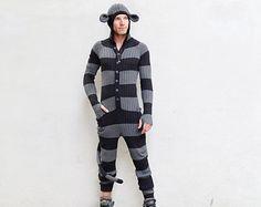 MONKEY SUIT for Men and Women - Cool Festival PJ's - Adult One Piece Jumpsuit - Long Johns -Bendable Tail - Sock Monkey Kigurumi - Gift