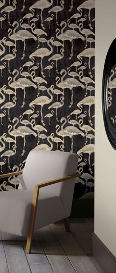 Black and White Flamingo Wallpaper by A Shade Wilder