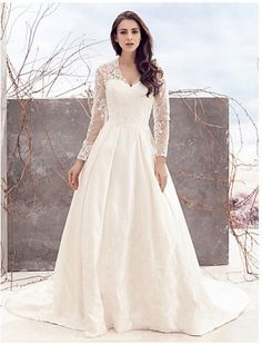 PLUS SIZE LING SLEEVE LACE BOHO WEDDING A LINE PLUS SIZE WEDDING DRESS