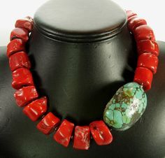 Beautiful red coral beads with huge turquoise focal bead (with tiny spacers) Link goes nowhere. Tribal Jewelry, Turquoise Jewelry, Beaded Jewelry, Unique Jewelry, Handmade Jewelry, Jewelry Necklaces, Jewelry Design, Wire Bracelets, Chunky Jewelry