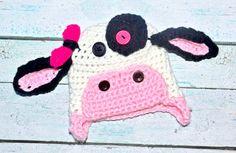 newborn cow hat by SweetBabiesinYarn on Etsy, $25.00 Kids Girls, Little Girls, Boys, Cow Hat, Caps Hats, Photo Props, Kids Fashion, Crochet Hats, Free Shipping