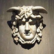 Mask of Medusa. Created for the 137 AD built temples of Venus and Roma in Rome. By buying since 1818 in Cologne. Today in the Roman-Germanic Museum of Cologne, Germany. Perseus And Medusa, Medusa Gorgon, Legendary Monsters, Snake Hair, Turn To Stone, Beautiful Snakes, Athena Goddess, Roman History, Cameo Jewelry