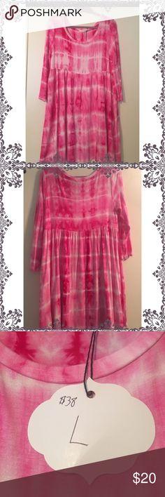 "Pink tye dye dress! Cotton dress NWT.  Three Quarter length sleeves   Laying Flat Chest across is 12 1/2"" Shoulder to hem 33"" Dresses Midi"
