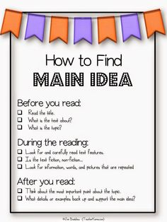 FREEBIE: How to find the main idea of a text anchor chart. http://TeacherKarma.com