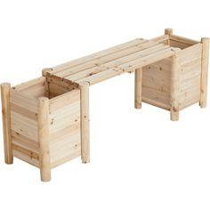 Cedar/fir Bench With Side Planters — Natural Cedar/fir (cunninghamia…