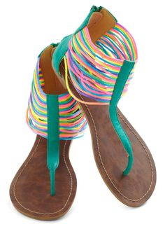 Neon the Shore Sandal - Green, Multi, Solid, Flat, Beach/Resort, Neon, Boho, Summer | See more about teal flats, neon sandals and retro vintage.