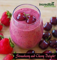 Strawberry Cherry Delight!  -5 medium strawberries -1 cup pitted cherries -2 tablespoons chia seeds, soaked for 5 minutes -8 ounces unsweetened coconut milk  Calories: 238 | Protein: 6 grams | Fiber: 9.5 grams | Calcium: 19% DV | Iron: 3.9mg