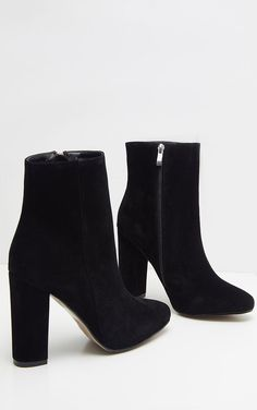 Behati Black Faux Suede Ankle Boots,Black Boots for Women - Experience the Wind and Weather with Elegance Women's boots : With the right women's boots , you not only ensure it is through. Ankle Boots Schwarz, Suede Ankle Boots, High Heel Boots, High Heels, Black Boots With Heels, Black Shoes, Boot Heels, Black Suede Boots, Black Knee High Boots Outfit