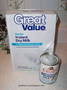 Survival and Preparedness on a Budget: Many Uses of Powdered Milk. Recipes for evaporated milk, cheese, sweetened condensed milk, carmal and more. Emergency Preparation, Emergency Food, Survival Food, Survival Prepping, Survival Skills, Emergency Kits, Survival Hacks, Emergency Supplies, Wilderness Survival