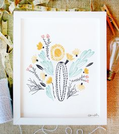 south art print 8 x 10 floral and succulent cactus flowers bouquet simple tribal bloom illustration in summer colors with white background. $15.00, via Etsy.