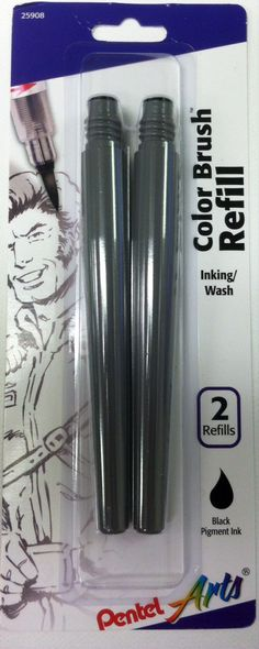 Color Brush Pen Refill Ink Cartridge - black 2 pk