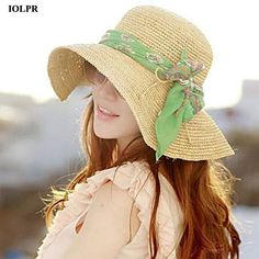ea5615655cff7 2017 new sun hat Summer hats for Women Ladies' Foldable Wide Imported rice  straw Large