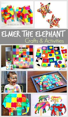 15 Elmer the Elephant Activities for Kids - Buggy and Buddy 15 Elmer the Elephant Crafts and Activities for Kids: Including elephant crafts, elephant art projects, sensory bottles and more! Elephant Crafts, Elephant Art, Learning Activities, Preschool Activities, Jungle Activities, Elmer The Elephants, Art For Kids, Crafts For Kids, Preschool Books