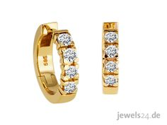 Diamond Line Damen - Ohrringe Gold 8 Diamanten ca. Diamond Earrings, Watches, Accessories, Jewelry, Jewelry Shop, Special Gifts, Studs, Tag Watches, Wrist Watches