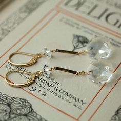 Quintessence earrings with brass, rolled gold and lead crystal chandelier jewels by Rachel Lucie - new pictures!
