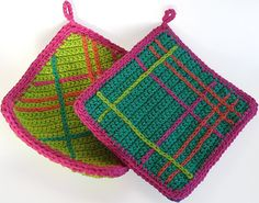 Ravelry: Snappy! pattern by Amy Manning.  crocheted potholders $