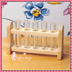 """1:12 Dollhouse Miniature laboratory test tube rack set ,Length of rack is 1""""1/2, tube can be removed  :)"""