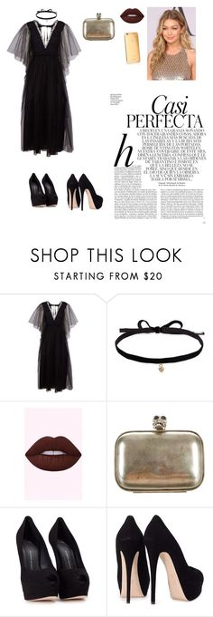 Party in gold🖤💫 by iamdefne on Polyvore featuring мода, Rochas, Giuseppe Zanotti, Alexander McQueen, Joomi Lim and Whiteley