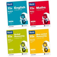 Bond 11+ English & Maths 4 Books Set Ages 10-11+ Years Inc 10 Minute Tests