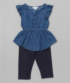 Loving this Dark Blue Pin Dot Chambray Top  amp  Jeggings - Toddler  amp   Girls e5e10bf07a