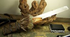extra Large Selenite crystal wand  1 foot  by CoyoteRainbow