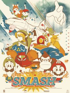 Super Smash Bros. - Created by Marinko Milosevski You can purchase thess as prints from his Shop, and you can find more of his work on Tumblr or Twitter.