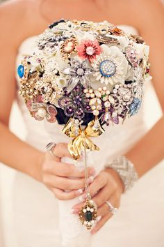 Wedding Bouquet..This would be cool to have everyone give you a pin at your shower for your wedding bouquet..u can always add some flowers to it...so different!