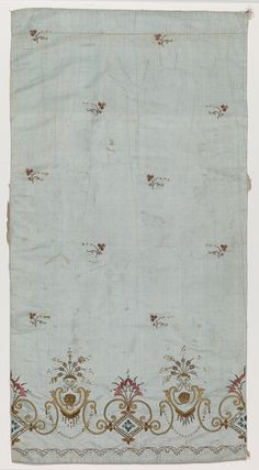 Women's skirt fragment Unknown artist, French Women's skirt fragment, 1800-1810 Ribbed silk embroidered with silk and spangles 50.258