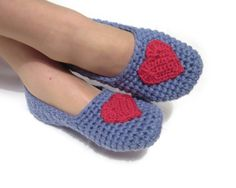 red heart grey blue crocheted slippers cozy woman house by ukraisa
