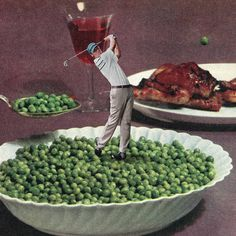 Simple: Juxtaposition/Substitution- Add small scale golfer to (large scale) bowl of peas; substitute pea for golfball Surrealist Collages Playing with Stereotypes – Fubiz Media