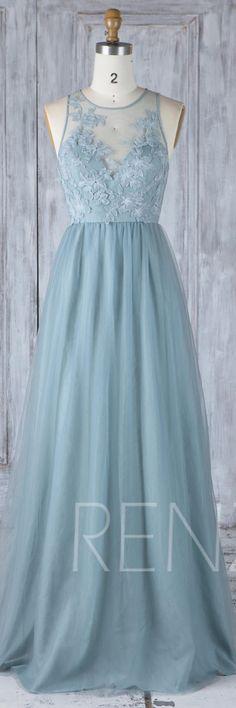 Dusty Blue Tulle Bridesmaid Dress, Sexy Lace Illusion Wedding Dress, Boat Neck Prom Dress,Key Hole Back Evening Dress Floor Length