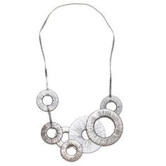 "JousJous Silver Leather The Gears Necklace, Matinee Length, 23"" Long (Jewelry)     Click image to see detail and more...."