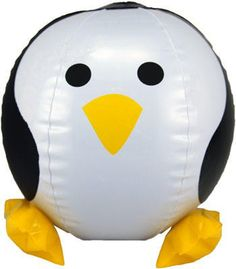 Our inflatable penguin beach ball is great penguin fun for the beach, your yard or even your home. The vinyl penguin when inflated is about 15 inches in diameter, and he even has little inflatable pen