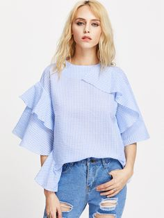 Shop Flounce Trim Kimono Sleeve Gingham Top online. SheIn offers Flounce Trim Kimono Sleeve Gingham Top & more to fit your fashionable needs.
