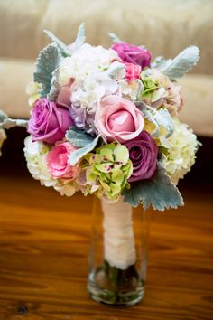 Absolutely #stunning, #elegant, #romantic + #feminine #florals for the #bridalbouquet. Oh how we #love this! ::Amanda + Jason's stunning silver wedding at the Victoria Belle Mansion in Hogansville, Georgia:: #lambsear #pink #hydrangea #roses #lavender #purple #blue #silver #chic #floralideas #flowers #weddingphotography