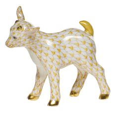"Herend Hand Painted Porcelain Figurine ""Baby Goat"" Butterscotch Fishnet Gold Accents."