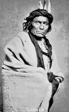 Nah-Gun-A-Gow-Bow (Standing Forward) - Ojibwa (chief?), by Joel E. Whitney, 1869. (Photoshopped).